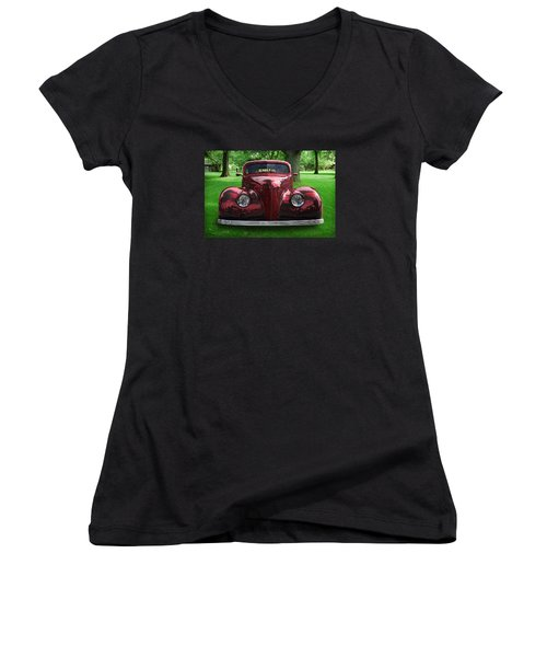 Women's V-Neck T-Shirt (Junior Cut) featuring the digital art 1938 Ford Coupe by Richard Farrington