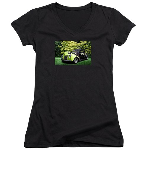 Women's V-Neck T-Shirt (Junior Cut) featuring the digital art 1939 Ford Coupe by Richard Farrington
