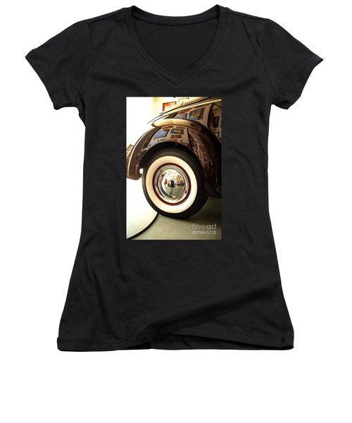 Women's V-Neck T-Shirt (Junior Cut) featuring the photograph Classic Maroon 1940 Ford Rear Fender And Wheel   by Jerry Cowart