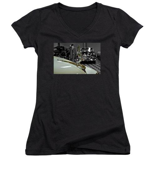 1947 Packard Hood Ornimate Women's V-Neck T-Shirt (Junior Cut) by Michael Gordon