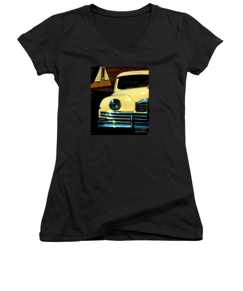 Women's V-Neck T-Shirt (Junior Cut) featuring the photograph 1950 Yellow Packard by Janette Boyd