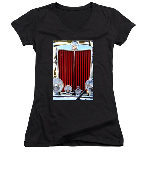 Old Cars Women's V-Neck T-Shirt (Junior Cut) featuring the photograph 1950 Mg by Aaron Berg
