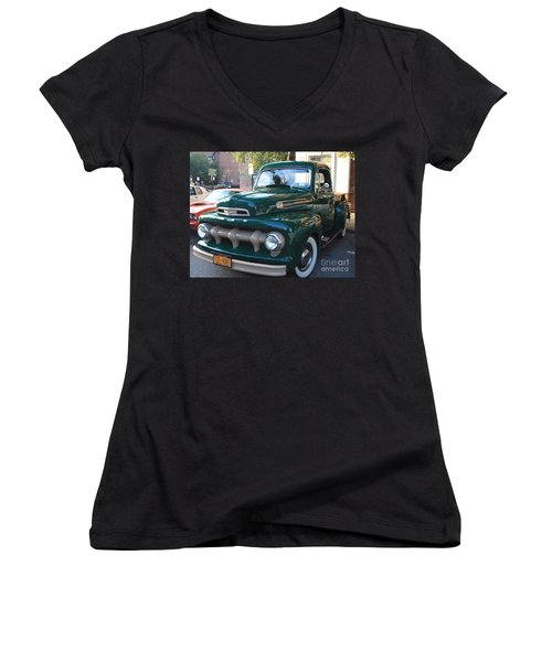 1952  Ford Pick Up Truck Front And Side View Women's V-Neck T-Shirt (Junior Cut) by John Telfer