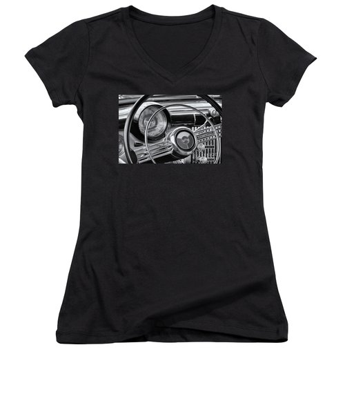1953 Buick Super Dashboard And Steering Wheel Bw Women's V-Neck T-Shirt (Junior Cut) by Jerry Fornarotto