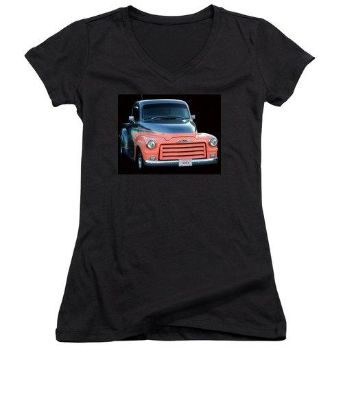 1953 Gmc Pick-up Women's V-Neck T-Shirt (Junior Cut) by Davandra Cribbie