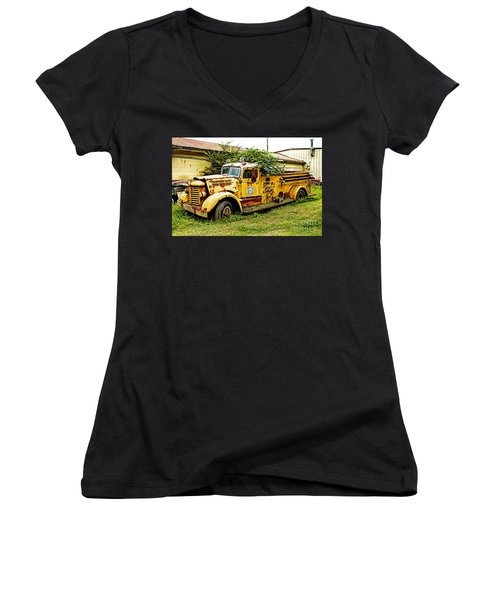 Women's V-Neck T-Shirt (Junior Cut) featuring the photograph 1954 Federal Fire Engine by Paul Mashburn