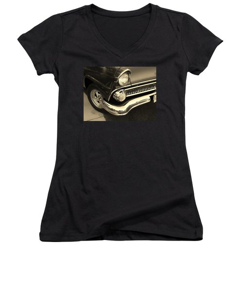 1955 Ford Crown Victoria Women's V-Neck T-Shirt (Junior Cut) by Jean Goodwin Brooks