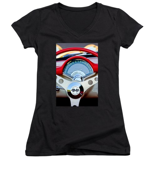 1957 Chevrolet Corvette Convertible Steering Wheel Women's V-Neck