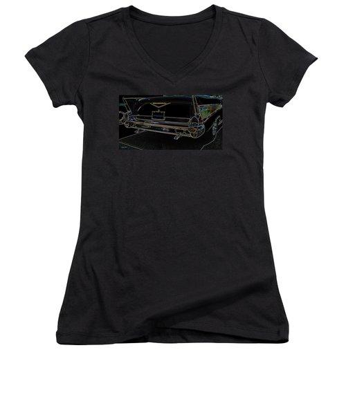 1957 Chevrolet Rear View Art Black_varooom Tag Women's V-Neck T-Shirt