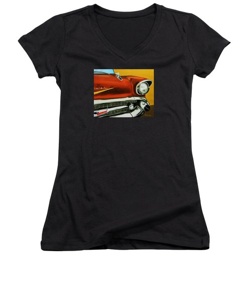 1957 Chevy - Coppertone Women's V-Neck (Athletic Fit)