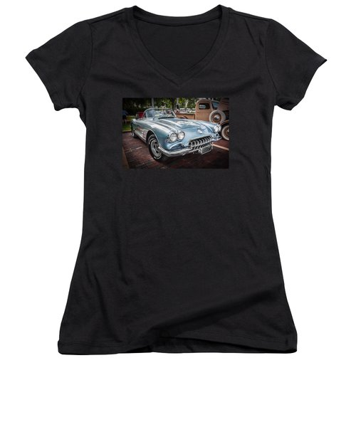 1958 Chevy Corvette Painted Women's V-Neck (Athletic Fit)