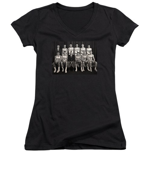1960 University Of Michigan Basketball Team Photo Women's V-Neck T-Shirt (Junior Cut) by Mountain Dreams