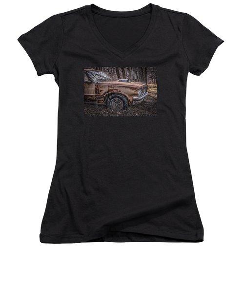 Women's V-Neck T-Shirt (Junior Cut) featuring the photograph 1964 Pontiac by Ray Congrove