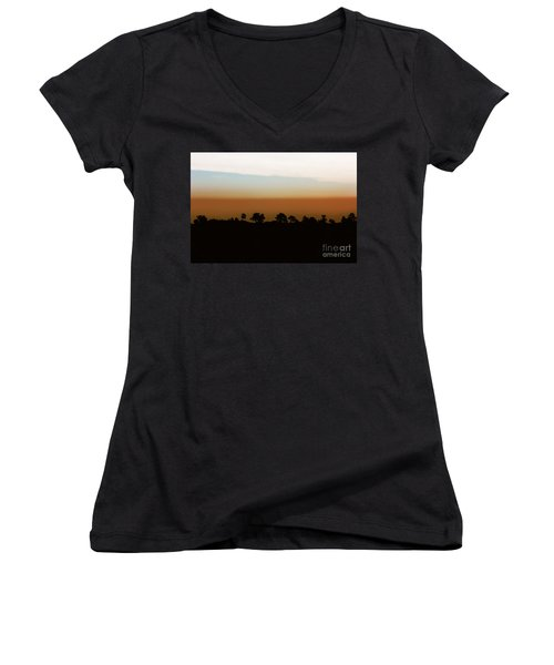 Women's V-Neck T-Shirt (Junior Cut) featuring the photograph 1974 by Dana DiPasquale