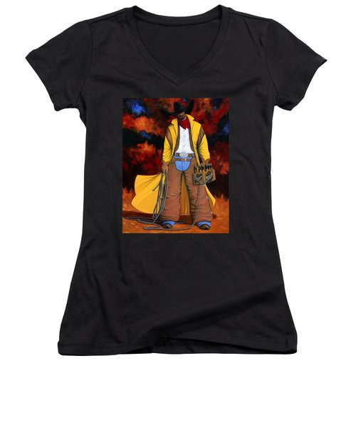 Women's V-Neck T-Shirt (Junior Cut) featuring the painting 10 Pac by Lance Headlee