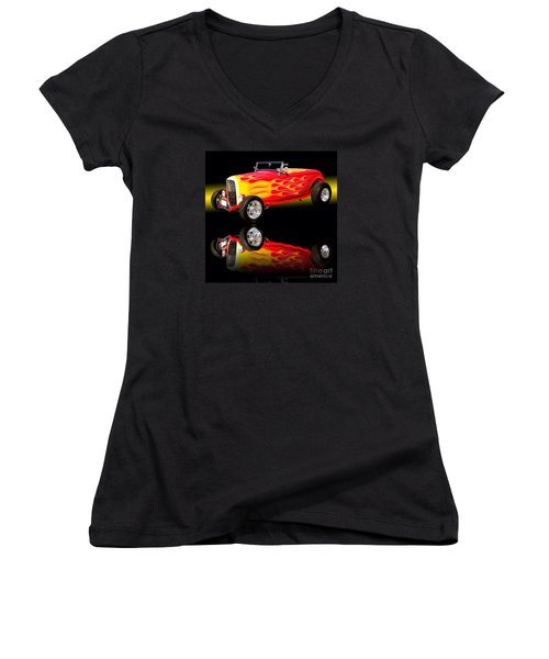 1932 Ford V8 Hotrod Women's V-Neck T-Shirt