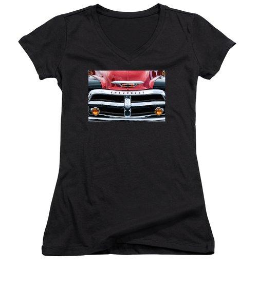 1955 Chevrolet 3100 Pickup Truck Grille Emblem Women's V-Neck T-Shirt