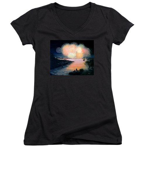 4th Of July Gloucester Harbor Women's V-Neck T-Shirt