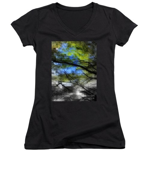 Abstract Forest Women's V-Neck T-Shirt (Junior Cut) by France Laliberte