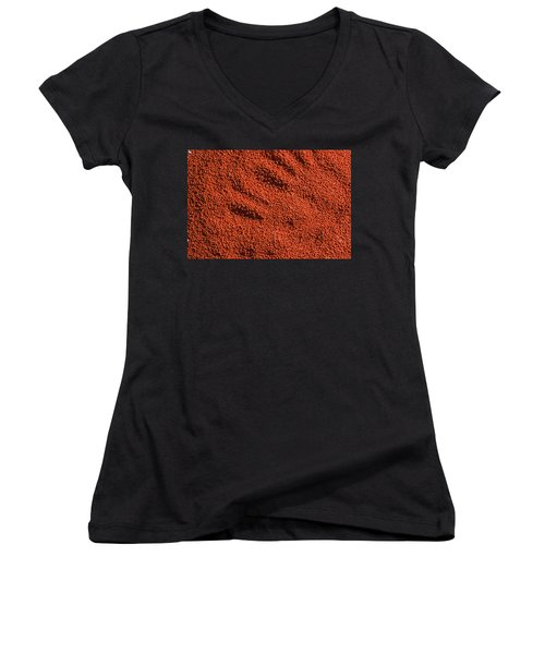 Abstract Texture - Red Women's V-Neck T-Shirt (Junior Cut)