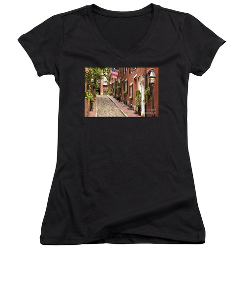 Acorn Street Boston Women's V-Neck T-Shirt (Junior Cut) by Brian Jannsen