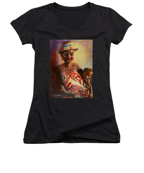 African Mother And Child Women's V-Neck T-Shirt