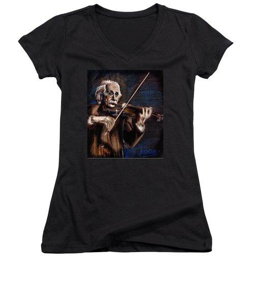 Albert Einstein And Violin Women's V-Neck (Athletic Fit)