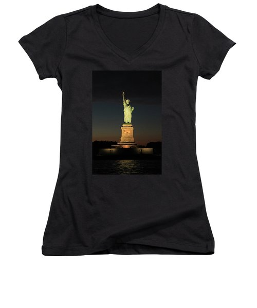 All Lit Up Women's V-Neck T-Shirt (Junior Cut) by Catie Canetti