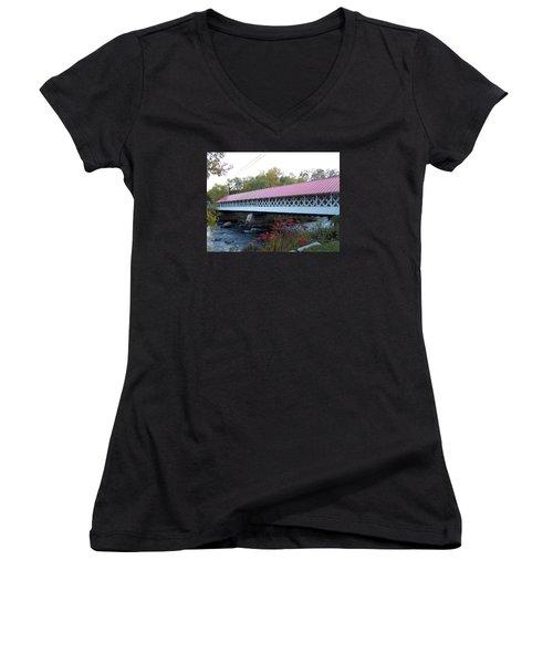 Ashuelot Covered Bridge Women's V-Neck T-Shirt (Junior Cut) by Catherine Gagne