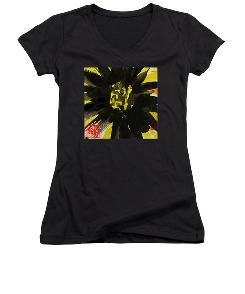 Women's V-Neck T-Shirt featuring the painting Asian Sunflower by Joan Reese