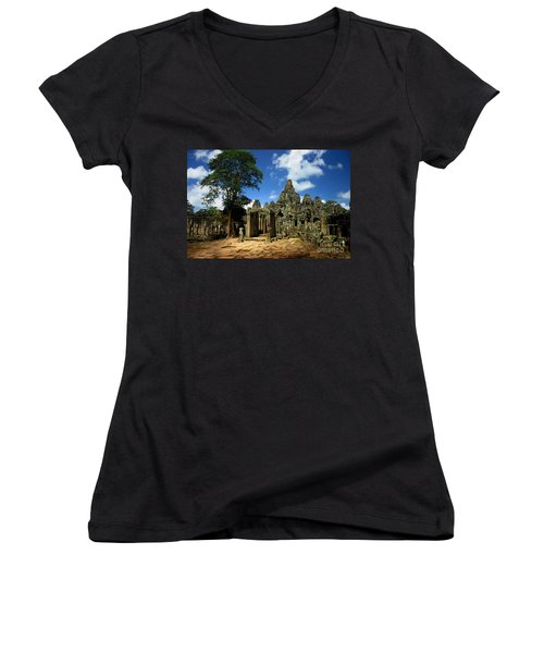 Bayon Temple View From The East Women's V-Neck T-Shirt (Junior Cut) by Joey Agbayani