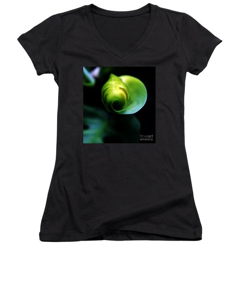 Women's V-Neck T-Shirt (Junior Cut) featuring the photograph Birth Of A Leaf by Lilliana Mendez