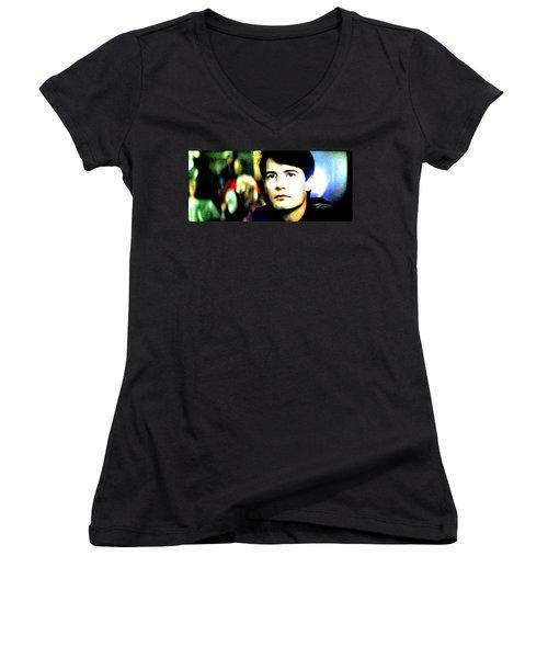 Women's V-Neck T-Shirt (Junior Cut) featuring the painting Blue Velvet by Luis Ludzska