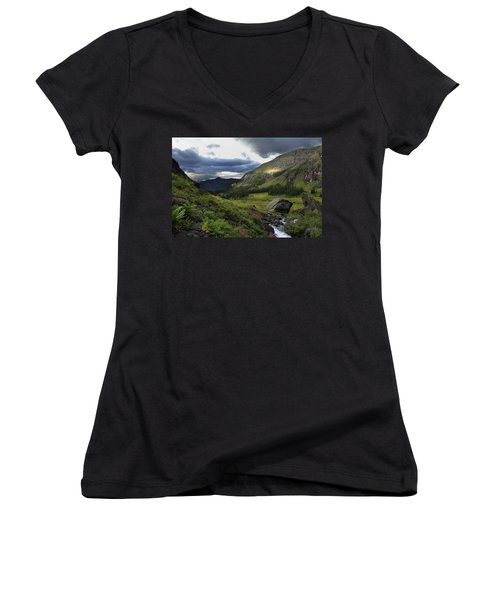 Women's V-Neck T-Shirt (Junior Cut) featuring the photograph Cascade In Lower Ice Lake Basin by Alan Vance Ley