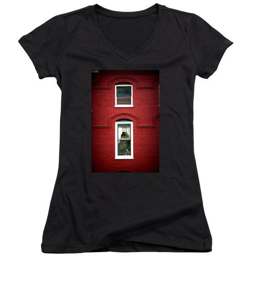 Doggie In The Window Women's V-Neck T-Shirt (Junior Cut) by Laurie Perry