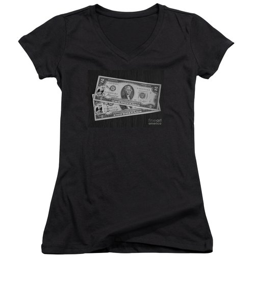 2 Dollars Women's V-Neck (Athletic Fit)
