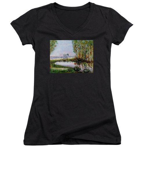 Fairhope Al. Duck Pond Women's V-Neck T-Shirt (Junior Cut) by Melvin Turner