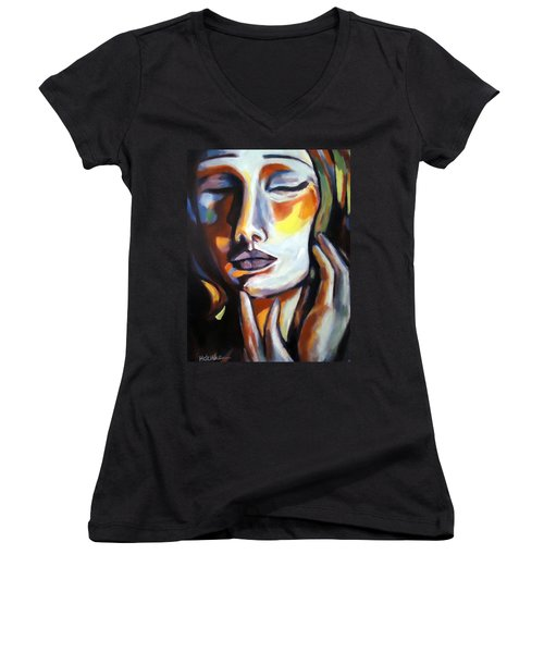 Women's V-Neck T-Shirt (Junior Cut) featuring the painting Emotion by Helena Wierzbicki