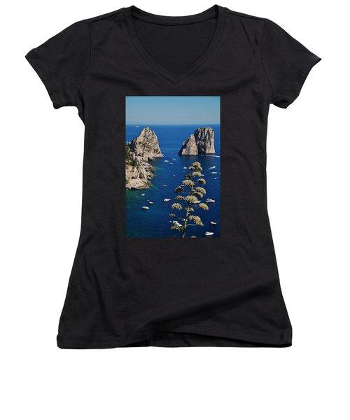 Faraglioni In Capri Women's V-Neck (Athletic Fit)