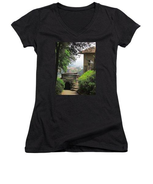 Garden View Women's V-Neck T-Shirt (Junior Cut) by Ellen Henneke