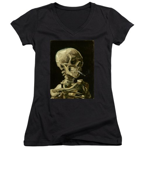 Head Of A Skeleton With A Burning Cigarette Women's V-Neck