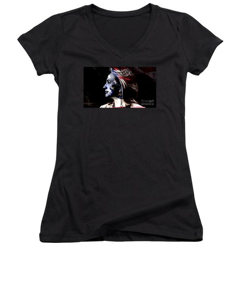 Women's V-Neck T-Shirt (Junior Cut) featuring the mixed media Hillary 2016 by Marvin Blaine