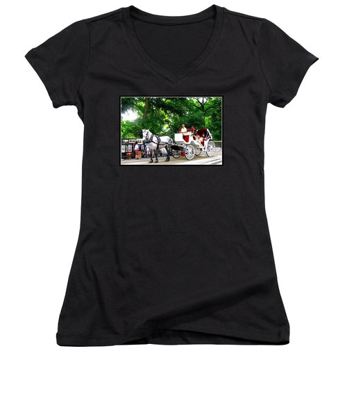 Horse And Carriage In Central Park Women's V-Neck (Athletic Fit)