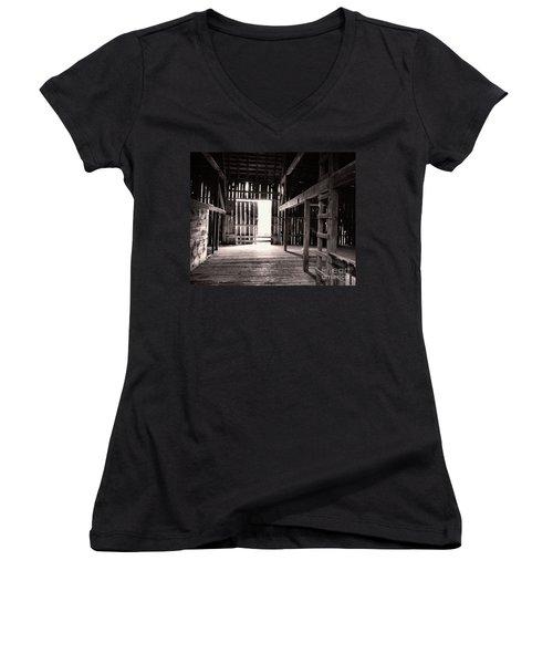 Women's V-Neck T-Shirt (Junior Cut) featuring the photograph Inside An Old Barn by John S