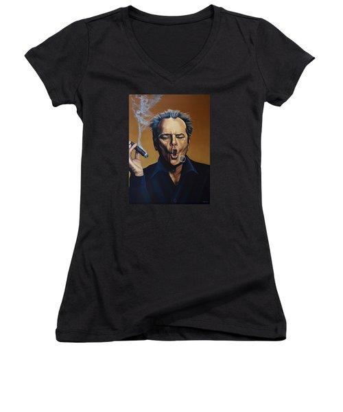 Jack Nicholson Painting Women's V-Neck T-Shirt (Junior Cut) by Paul Meijering