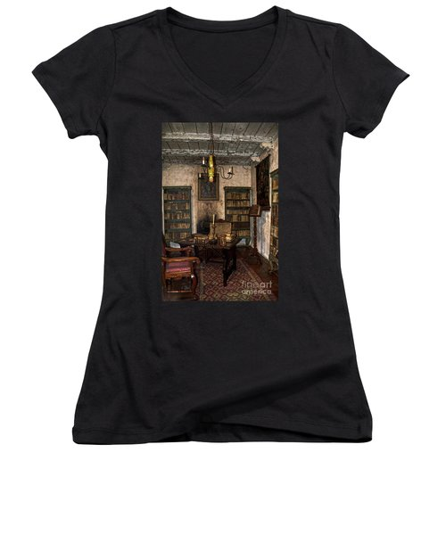Junipero Serra Library In Carmel Mission Women's V-Neck
