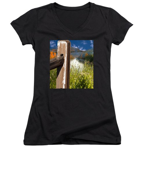 Landscape With Fence Pole Women's V-Neck