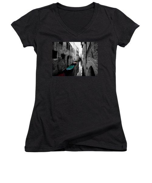 L'aqua Magica Women's V-Neck T-Shirt (Junior Cut) by Micki Findlay