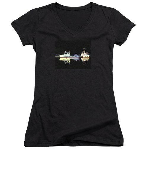 Women's V-Neck T-Shirt (Junior Cut) featuring the painting Last Light  Island Moorage by Gary Giacomelli
