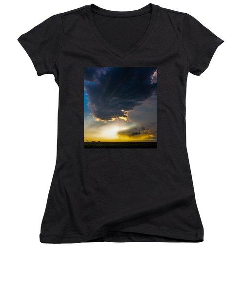 Late Afternoon Nebraska Thunderstorms Women's V-Neck